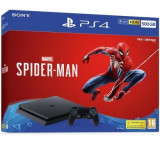 Consola SONY PlayStation 4 Slim (PS4 Slim) 500 GB, Jet Black + joc Marvel's Spider-Man