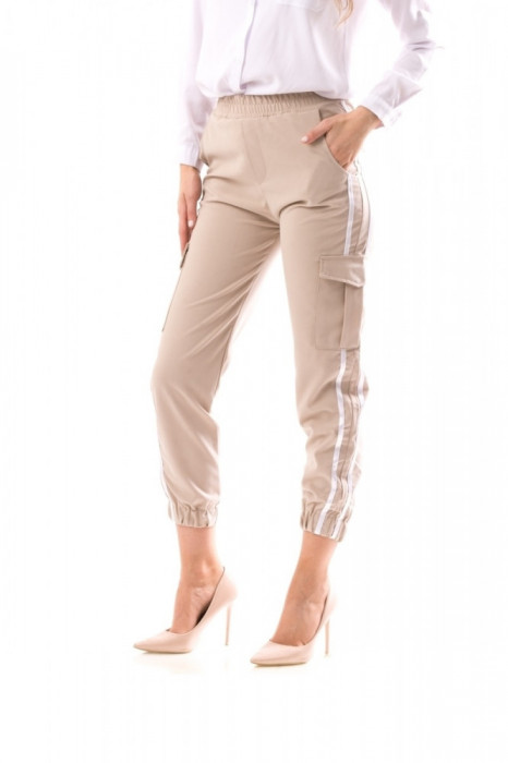Pantaloni dama, sport, culoare bej, 53995
