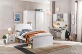 Cumpara ieftin Set Mobila dormitor din pal pentru tineret 5 piese White Large, 200 x 120 cm