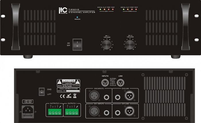 Amplificator de putere cu 2 canale, 2×240W,T-2S240
