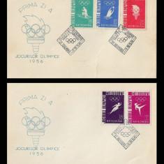 1956 Romania, 2 FDC Jocurile Olimpice Melbourne LP 422, plicuri prima zi