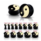 Plug pentru ureche, negru, lucios, cu simbolul Yin-Yang - Lățime: 6 mm