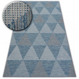 Covor sisal Loft 21132 Triunghiuri fildeş si argintiu si albastru, 80x150 cm