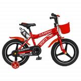 Bicicleta Copii Carpat C1600A, Roti 16inch, Frane C-Brake, Roti Ajutatoare cu LED (Rosu)