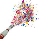 Cumpara ieftin Sticla sampanie cu confetti, accesoriu petrecere, 20x4x4cm, design elegant