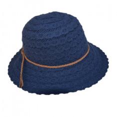 Palarie de vara din material cu aspect de dantela, bleumarin
