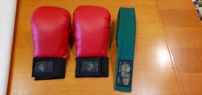 Manusi si centura verde karate foto