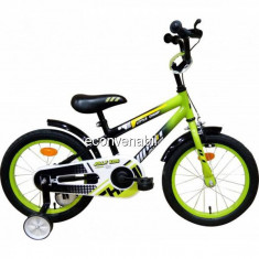 Bicicleta Copii 4-6 Ani, cu Roti Ajutatoare, Jolly Kids IBY16 BIC16 Verde