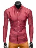 Camasa pentru barbati rosu cu model slim fit casual cu guler k407