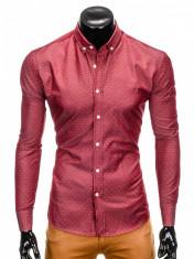 Camasa pentru barbati, rosu, cu model, slim fit, casual, cu guler - k407 foto