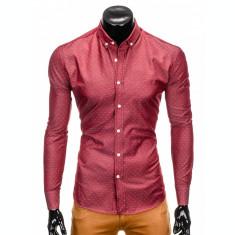 Camasa pentru barbati, rosu, cu model, slim fit, casual, cu guler - k407