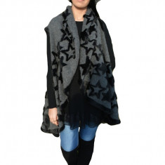 Cardigan modern fara maneca, lungime asimetrica, nuanta gri