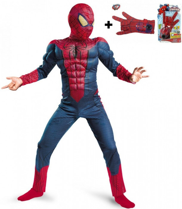 COSTUM SPIDERMAN TIP SALOPETA CU MUSCHI+BONUS ARMA CU MANUSA SPIDERMAN.SUPER !