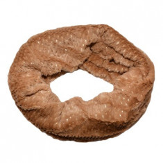 Fular Ioda circular cu insertii de paiete,nuanta de maro