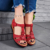 Sandale dama cu platforma rosii Shayla