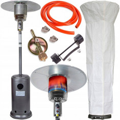 Incalzitor terasa pe gaz cu roti MalTec GH145, putere 14kW, raza de incalzire 5m, inaltime 230cm, pliabil, reductor si furtun inclus