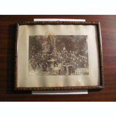 Foto tablou veche grup mare militari (ofiteri romani ?) / nedatata / Targoviste