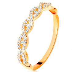 Inel strălucitor din aur galben de 14K - brațe despicate împletite, zirconii - Marime inel: 54
