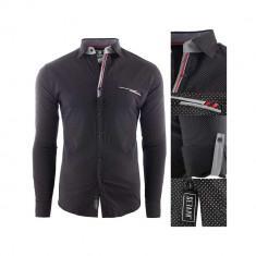 Camasa pentru barbati, neagra, slim fit, casual - Nice, 3XL, L, M, S, XL, XXL, Maneca lunga