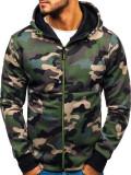 Cumpara ieftin Bluză pentru bărbat cu glugă și fermoar camuflaj-verde Bolf W1380