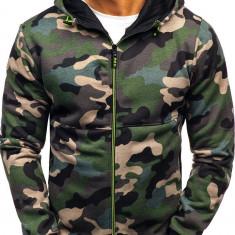 Bluză pentru bărbat cu glugă și fermoar camuflaj-verde Bolf W1380