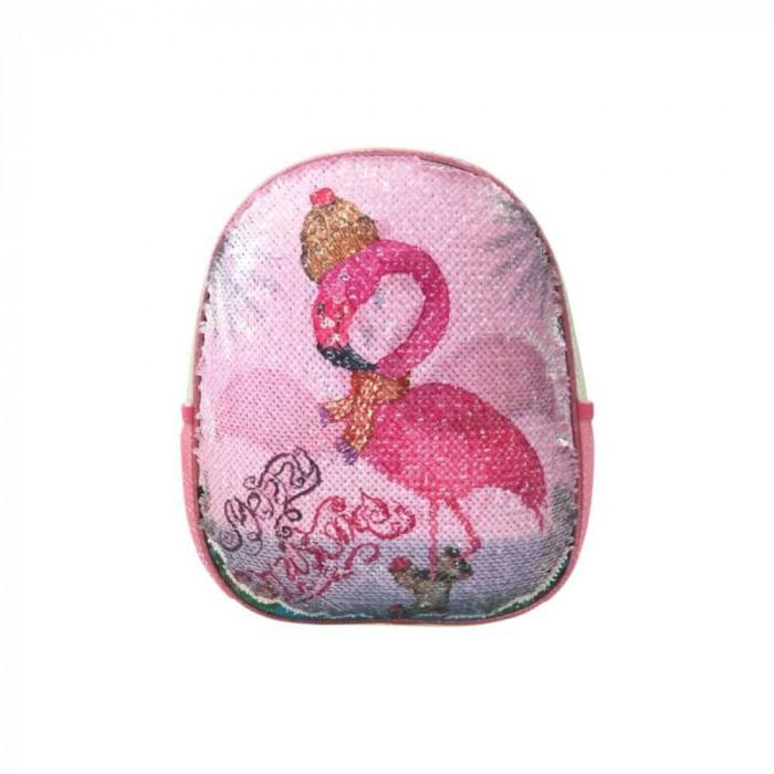Ghiozdan DACO cu Paiete, Model Flamingo, 31x25x9 cm, Bretele cu Burete Reglabile si Doua Buzunare Laterale cu Plasa, Material Poliester, Culoare Roz,