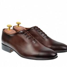 Pantofi barbati lux - eleganti din piele naturala maro - cod 024MBOX