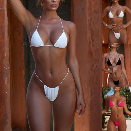 Costum de baie mini reglabil colours sexy Sutien Bikini Tanga Lady Lust Push Up