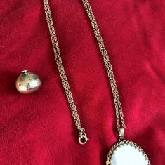 Lant + Pandantiv - antic / vintage - perla / mother of pearl