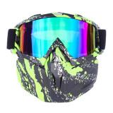Masca protectie fata, plastic dur+ochelari ski, lentila multicolora, model MDG04