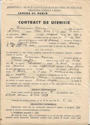 Contract ucenic coafor 1945 Medias proprietar evreu Friedmann Francisc foto