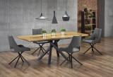 Cumpara ieftin Set masa extensibila din MDF si metal Derrick Stejar / Negru + 4 scaune tapitate cu stofa K409 Gri / Negru, L160-200xl90xH75 cm
