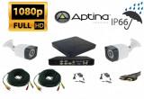 Cumpara ieftin Sistem supraveghere video 2 camere profesionale 2 MP 1080P FULL HD IR30m , DVR 4 canale, full accesorii, live internet