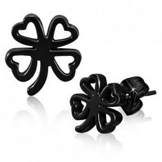 Cercei negri din oțel inoxidabil, contur trifoi norocos