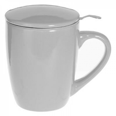 Cana cu infuzor pentru Ceai, 320 ml, Portelan, Gri foto