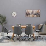Scaune de sufragerie cu rotile, 6 buc., gri deschis, țesătură