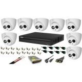 Cumpara ieftin Kit 8 camere supraveghere 2MP HDCVI cu microfon Dahua + DVR 8 canale 4K Full HD Dahua + Sursa + Cablu + Mufe + Cablu HDMI