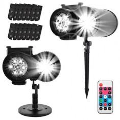 Proiector Laser LED 4 anotimpuri cu 12 diapozitive interschimbabile, interior/exterior, cu telecomanda si timer