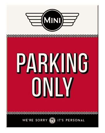 Magnet - Mini Cooper - Parking Only Red
