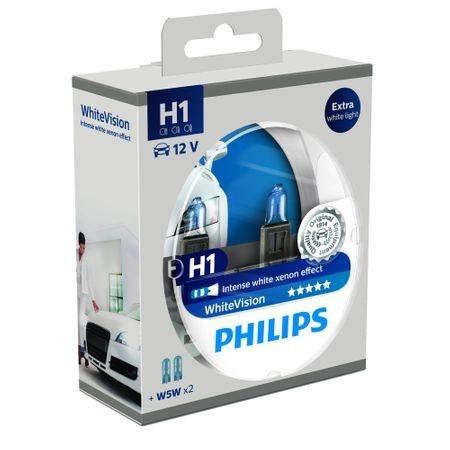 Set 2 Becuri far Philips H1 White Vision 12V 55W