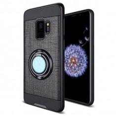 Samsung Galaxy S9 - Husa Neagra Dublu Strat Cu Inel Rotativ