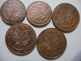 Germania (11) - 1 Euro Cent 2008, 2009 D, 2 Euro Cent 2008 D, F, 2009 D, Europa