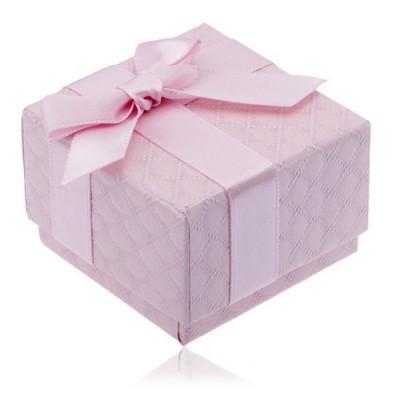 Cutiuță de cadou roz pentru bijuterii cu model pătrat, fundiță foto