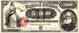 500 dolari 1880 Reproducere Bancnota USD , Dimensiune reala 1:1
