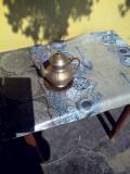 Ibric din alama argintata cu suport din cupru si lemn