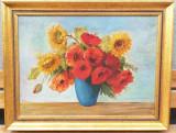 Tablou Natura statica Vas cu Maci și Floarea soarelui ulei panza 76x96cm
