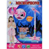 Microfon de jucarie pentru Karaoke cu suport - Roz
