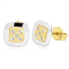 Cercei din aur de 14K - pătrat cu zirconii transparente în mijloc, aur galben și alb
