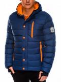 Cumpara ieftin Geaca pentru barbati, bleumarin, ideal ski, de iarna cu gluga, fermoar si nasturi, model slim - c124