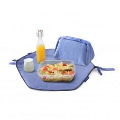 Geanta Eat'n'Out Mini Eco Bleu - 2 in 1 - Geanta pliabila pentru pranz si servet de masa